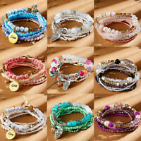 New Multilayer Natural Stone Crystal Beded Bracelet Women Statement Jewelry