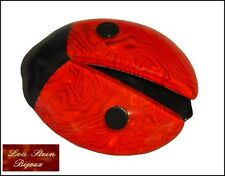 FRENCH SIGNED LEA STEIN PARIS RESIN LADYBUG LADYBIRD BROOCH PIN -RED BLACK