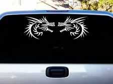 """Tribal Dragon Heads left and right Chinese design decal sticker 16x7"""" White"""