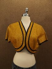 Amazing Vtg 1950s Karyl Lee Brown Mottled Wool? Felt Cropped Open Vest 36 NEW