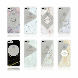 Personalised Name iPhone Samsung Soft Clear Phone Case Marble Iridescent Glitter