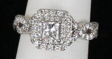 14k White Gold Vera Wang Love Collection Princess Halo Diamond Engagement Ring .