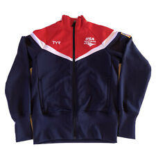 TYR Triathlon USA Women's Embroidered Full Zip Warm Up Jackets, Red,Navy, XS.