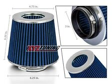 "3"" BLUE Performance High Flow Cold Air Intake Cone Replacement Dry Filter Dodge"