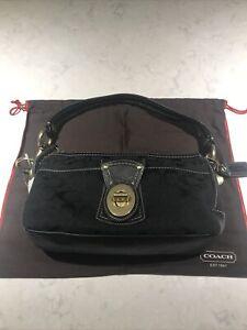 Coach Black LeatherBag Hobo Brass Tone Buckle Handbag PurseW/ Dust Cover Bag