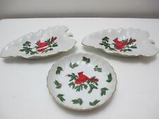 Christmas Decor - Lefton Japan Cardinal Holly Berry 3 Serving Trays Dishes