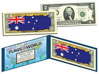AUSTRALIA - Flags of the World Genuine Legal Tender U.S. $2 Bill Currency