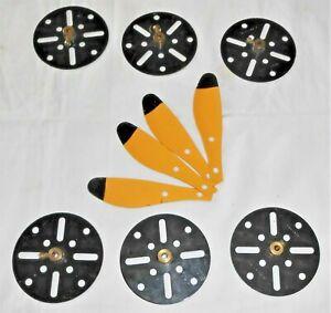 MECCANO BLACK & YELLOW PARTS No's 41 PROPELLER BLADES BLACK TIP x 4pcs & 109 x 6