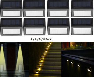 Sunklly Solar Deck Lights Outdoor 6 LED Waterproof Fence Lamp for Wall Patio Garden 7 Color, Pack of 4