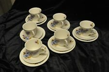 CUPS AND SAUCERS & SIDE PLATES X 6 BY LORD NELSON POTTERY BLUE FLOWER