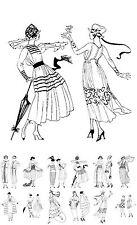 """Adult Coloring Cards Book (24 pages 6""""x8"""") Vintage Fashion Art Deco FLONZ 031"""
