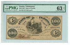 $100 1861 Tallahassee, FL - State of Florida Obsolete Currency FLCR2 - PMG CU 63