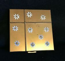 Volupte Vintage Square Gold-Tone Compact, White Flowers or Starbursts, Unused