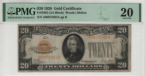1928 $20 GOLD CERTIFICATE NOTE FR.2402 AA BLOCK PMG VERY FINE VF 20 (884A)