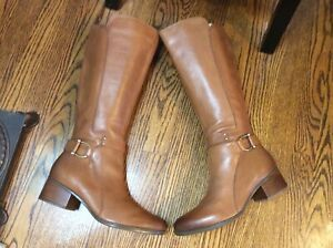 Naturalizer  Dane Women's 9 M Tall Riding Boots Brown Leather Zip Buckle, EUC