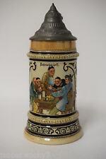 Rare Antique Reinhold Hanke 1133 Tyrolean Entertainer German Hand Painted Stein