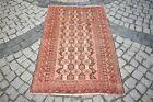 Antique Tribal Rug 3'2 x 4'9 ft Turkoman Tribal Prayer Design Hand Knotted Rug