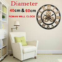 40/60CM Roman Numeral Large Open Face Giant Wall Clock Round Home Outdoor Garden