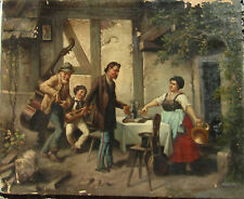Illegibly Signed Figures in Courtyard OLD Antique 19th C. Oil Painting NO RES.