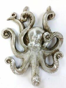Coat Hooks Octopus Wall Hook Silver Leaf Ornate Robe Coat Hook
