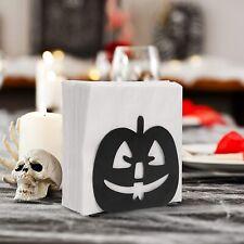Black Metal Jack-O-Lantern Pumpkin Design Tabletop Napkin Holder, Halloween