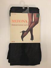 Merona Black Premium Fashion Tights Ebony S/M NEW!