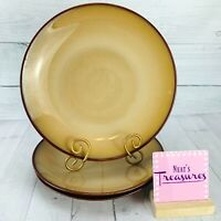 Sango NOVA BROWN 4933 Brown Edges Tan Smooth Stoneware Dinner Plates Set Three