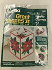 Bucilla Christmas Poinsettia Tissue Box Cover Kit 61007 Plastic Canvas Kit