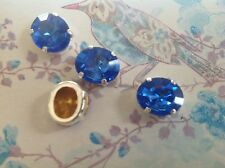 3 Swarovski #4106 Vintage Oval Sew on 12x10mm Sapphire GF CRAFT Post Free