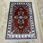 YILONG 2.5'x4' Red Handknotted Silk Carpet Vintage Lounge Indoor Area Rug L133C