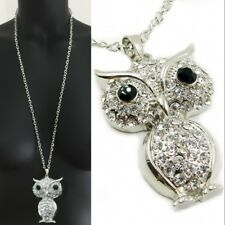 XXL Lang Eule Anhänger Damen Kette Halskette Strass Glas Kristal Silber 118