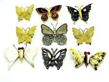 Colorful Filigree Enameled Pewter Shell 9 Butterfly Pin Brooch Collection Gold