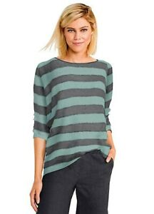 Ladies 3/4 Length Sleeve Jumper- Grey & Green Stripes- UK Size 22- NEW