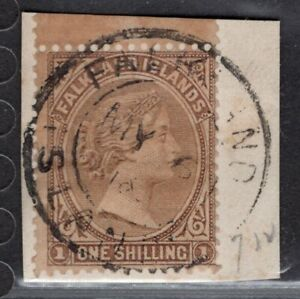 FALKLAND ISLANDS 1878/9 STAMP Sc. # 4 USED ON PIECE