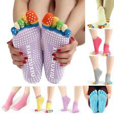 1Pair Women Cotton Gym Yoga Anti-Slip Massage Socks Full Grip Colorful Toe Socks