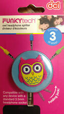 Fun Retro Owl Decorated Earbud 3-way Line Splitter MP3 iPhone iPod Cell