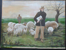 IRENE CARTER AUSTRALIAN 1900-1954 ORIGINAL SIGNED PAINTING SHEPHERD & FLOCK