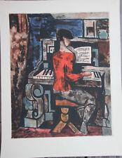 Marcel GROMAIRE - Jacques VILLON aquatinte gravure 1929 jeune fille piano Louvre