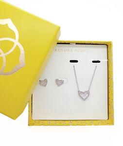 100% KENDRA SCOTT Gift Set Ari Heart Amethyst Pendant Necklace Stud Earrings