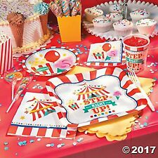 CARNIVAL CIRCUS Step Right Up 80pc Party Plates,Napkins,Cups,Dessert Tableware
