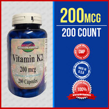 Natural Vitamin K2 - Menaquinone 7 (MK 7) 200 mcg 200 Caps - USA/ CGMP Facility