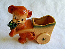 Vintage Royal Copley Collectible Pottery Teddy Bear Pulling Cart Wagon Planter