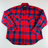 Fieldmaster Vintage Flannel Button Down Shirt L/S Red Blue Plaid Mens Size Large