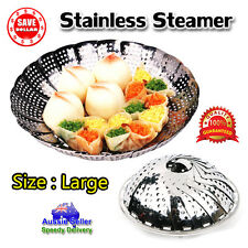 1 x Large Folding Stainless Steel Steamer Basket Cooker Food Vegetable 28cm