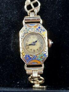 18ct Enamel Ladies Wristwatch Art Nouveau Liberty Style, 12ct Rolled Gold Strap