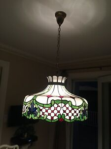 """Tiffany Style Sunrise Hanging Lamp Stained Glass 22"""" X 14"""" Shade Handcrafted"""