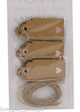 Vintage Style 15 Gift Tags Kraft Blank Luggage Label Twine Pink Love Heart Xmas