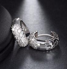OHRRINGE Creolen Silber Platin beschichtet Zirkon Ohrstecker Strass Damen | NEU