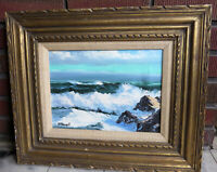 S. Poonell Vintage Original Oil Painting of a Seascape Signed 19 x 16