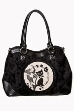 Black Phoenix Cat Kitty Flocked Floral Rockabilly Gothic Handbag Banned Apparel